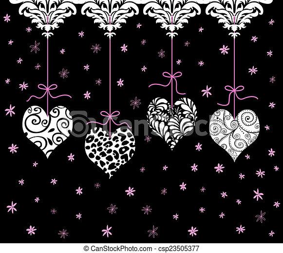 Corazón de San Valentín rojo colgando en una fila - csp23505377
