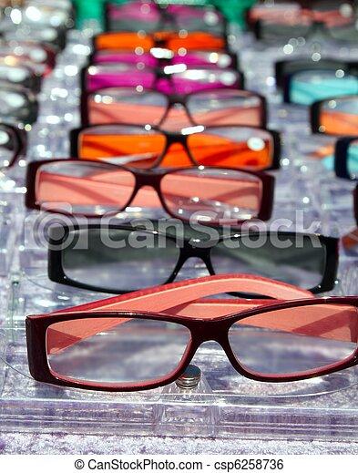 filas, olho, muitos, cima fim, vista, óculos - csp6258736