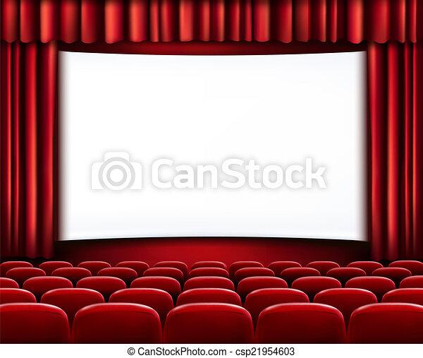 filas, teatro, cinema, assentos, scre, em branco, frente, branca, ou, vermelho - csp21954603