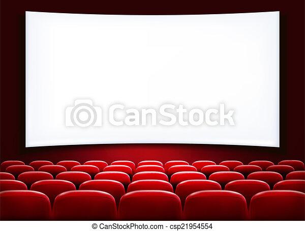 filas, teatro, cinema, assentos, scre, em branco, frente, branca, ou, vermelho - csp21954554
