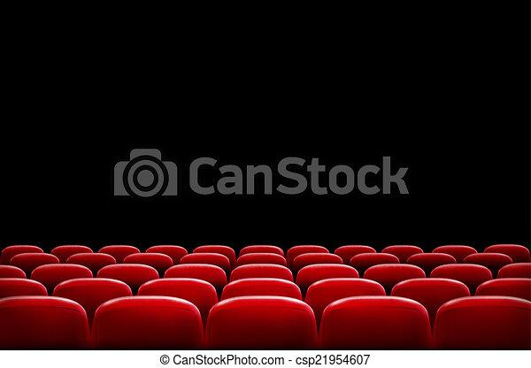 filas, teatro, cinema, tela, inteligência, pretas, assentos, frente, ou, vermelho - csp21954607