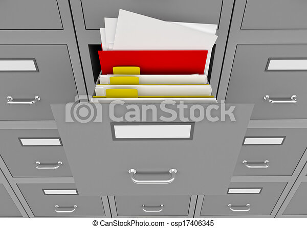 File cabinet with an open drawer. - csp17406345