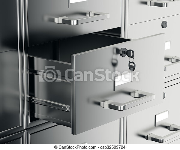 File cabinet with open drawer - csp32503724
