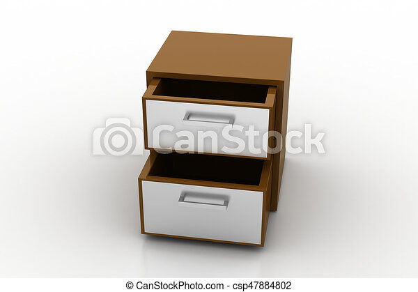 File cabinet with open drawer - csp47884802