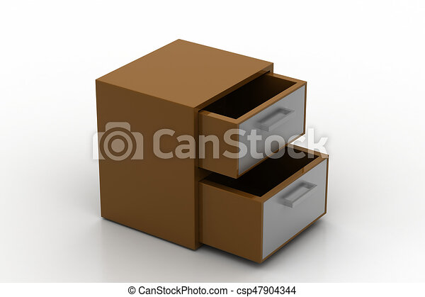File cabinet with open drawer - csp47904344