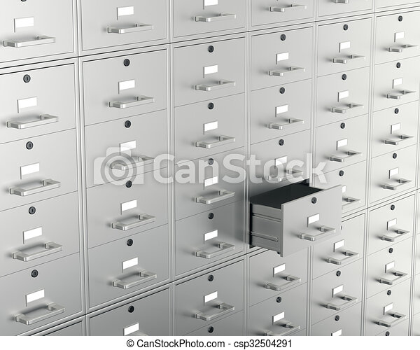 File cabinet with open drawer - csp32504291