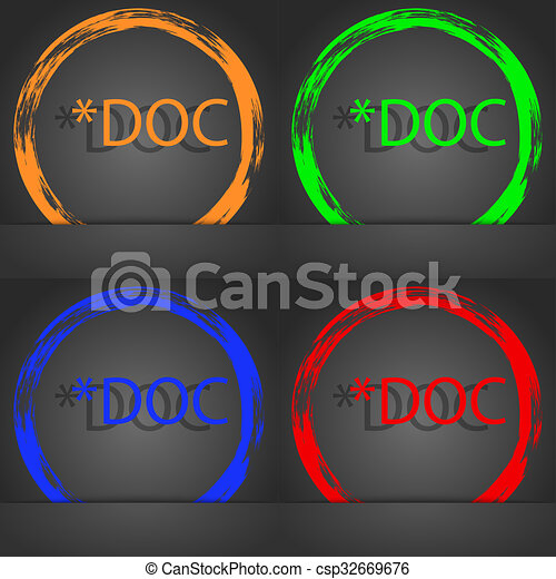 File document icon. Download doc button. Doc file extension symbol. Fashionable modern style. In the orange, green, blue, red design. - csp32669676