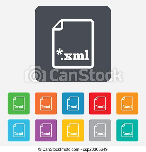 File document icon. Download XML button. - csp20305649