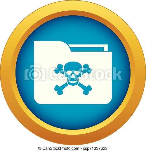 File folder with a skull icon blue vector isolated - csp71337623