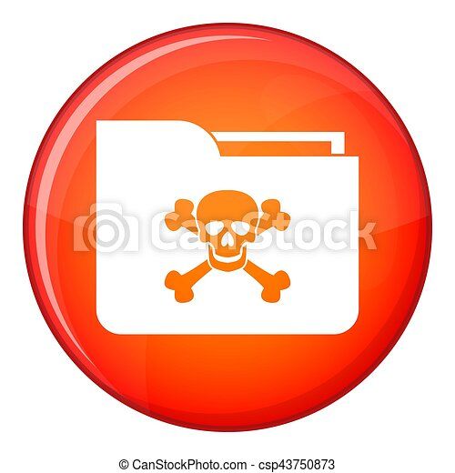 File folder with a skull icon, flat style - csp43750873