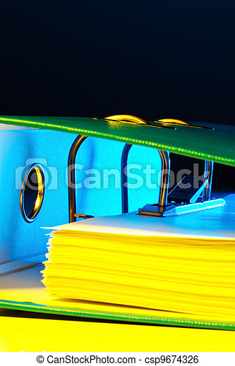 file folder with documents and documents - csp9674326