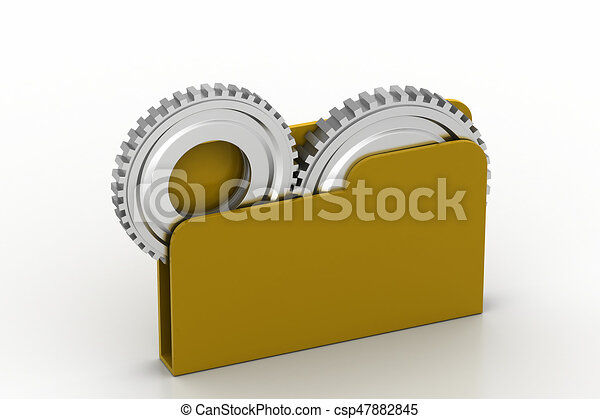 File folder with gear - csp47882845