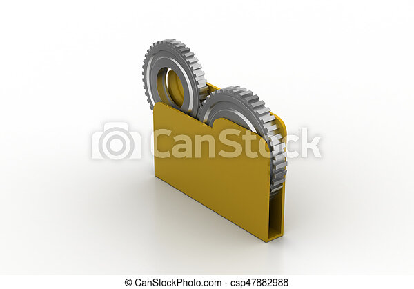 File folder with gear - csp47882988
