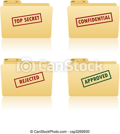 file folder with place for label with top secret, confidential, approved, rejected texts on - csp3269930