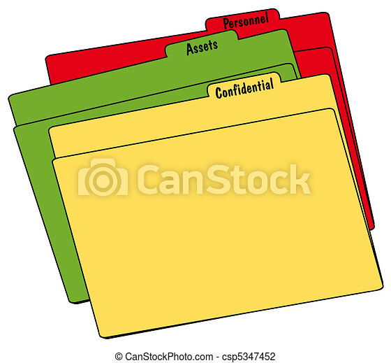 colored file folders with confidential personnel and assets