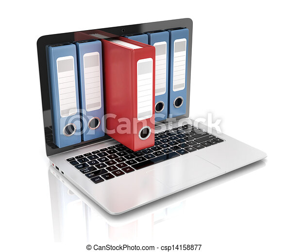 file in database - laptop with ring - csp14158877