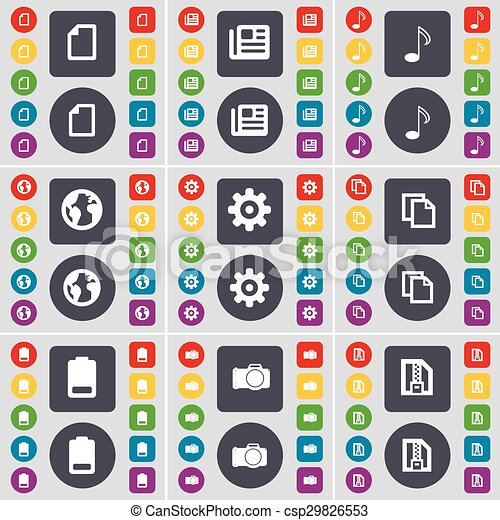 File, Newspaper, Note, Earth, Gear, Copy, Battery, Camera, ZIP card icon symbol. A large set of flat, colored buttons for your design. Vector - csp29826553