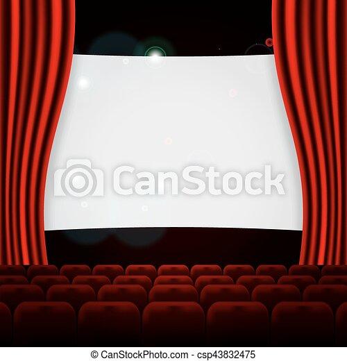 file, teatro, cinema, posti, o, rosso - csp43832475