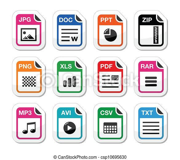 File type icons as labels set - zip - csp10695630
