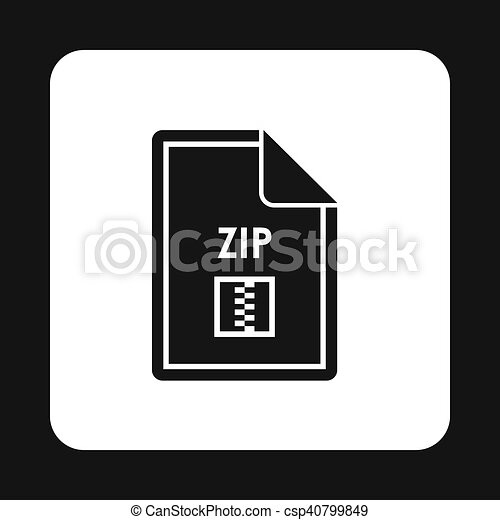 File ZIP icon, simple style - csp40799849