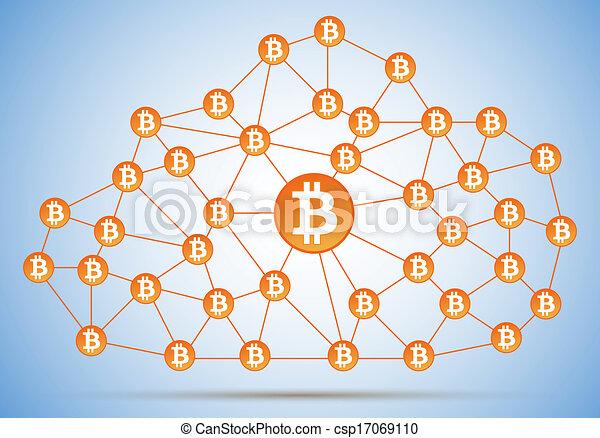 filet, bitcoin, nuage - csp17069110