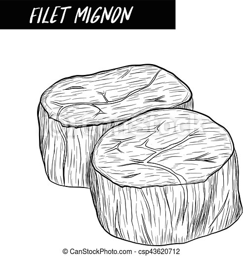 filet mignon sketch by hand drawing. - csp43620712