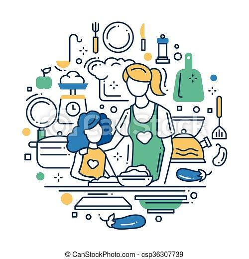 Filha Desenho Mae Linha Composicao Cozinha Apartamento