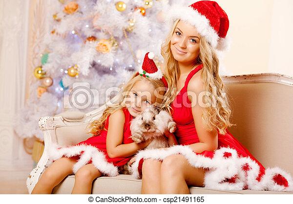 42c605a72ca455 filha, mãe, família, vestido, santa, natal., comemorar
