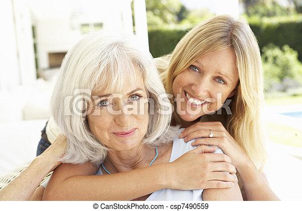 filha, relaxante, sofá, adulto, mãe, retrato - csp7490559