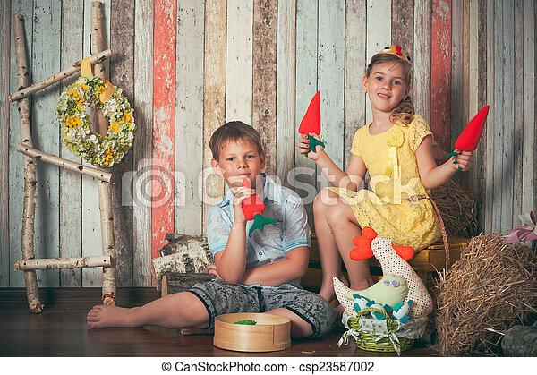 filhos jovens, tocando, brinquedos - csp23587002