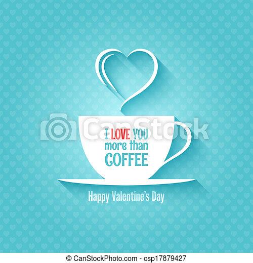 filiżanka do kawy, list miłosny, projektować, tło, dzień - csp17879427