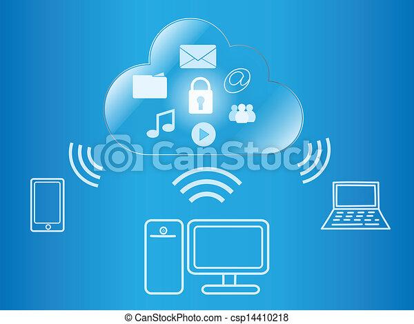 fili, calcolare, accesso, digitale, contenuto, nuvola - csp14410218