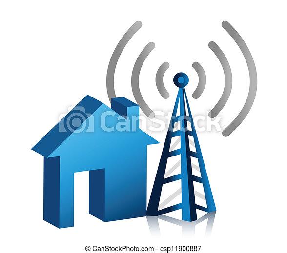 fili, casa, collegamento - csp11900887