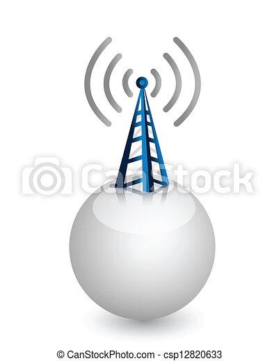 fili, torre, onde radio - csp12820633