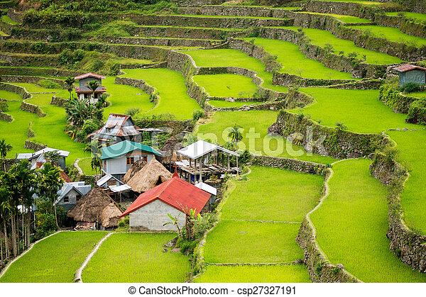 Filipinas Filipinas Norte Terraces Banaue Batad Terrazas Arroz Cultivo Aldea Valle