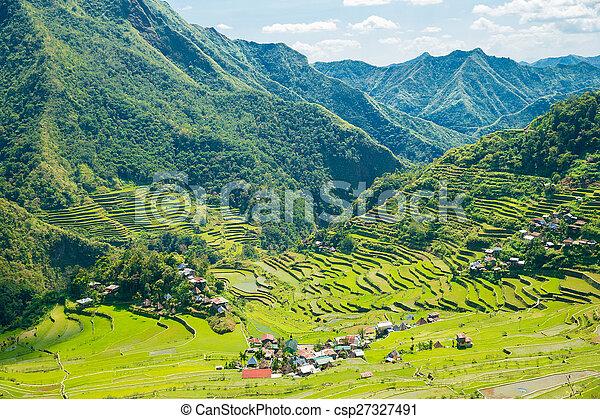Terrazas De Arroz En Las Filipinas El Pueblo Está En Un
