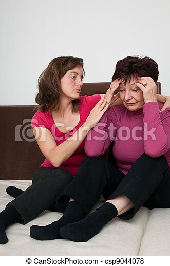 fille, -, mère, personne agee, regrets, dépression - csp9044078
