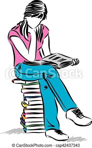 fille repos, adolescent, illustration, livre lecture - csp42437343