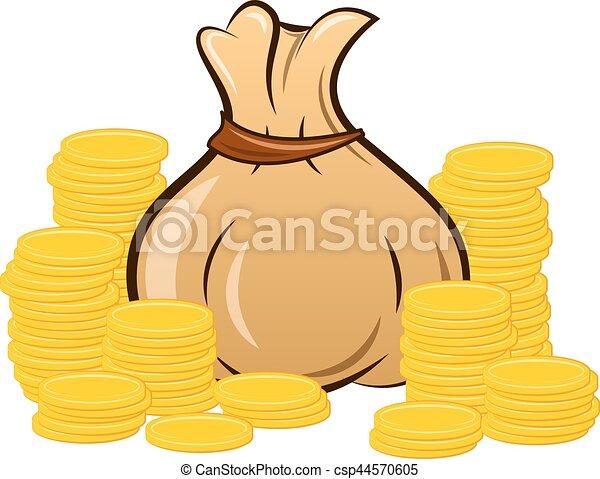 filled money bag on white background - csp44570605