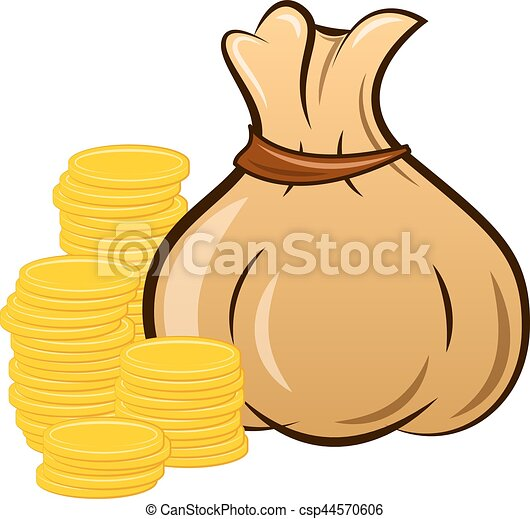 filled money bag on white background - csp44570606