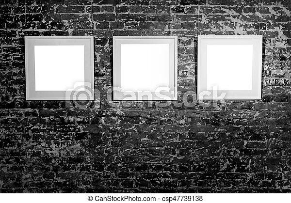 Filled., ser, cuadrado, arte, marco espacio, tres, wall., esperar ...