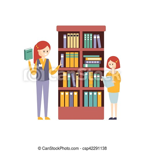 filles deux biblioth que livres choisir tag re vecteurs search clip art. Black Bedroom Furniture Sets. Home Design Ideas