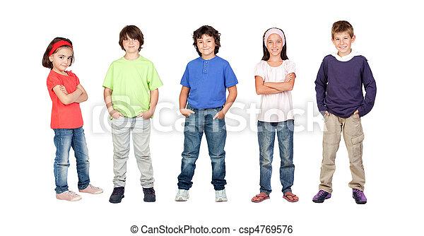 filles, deux, trois, garçons, enfants, adorable - csp4769576