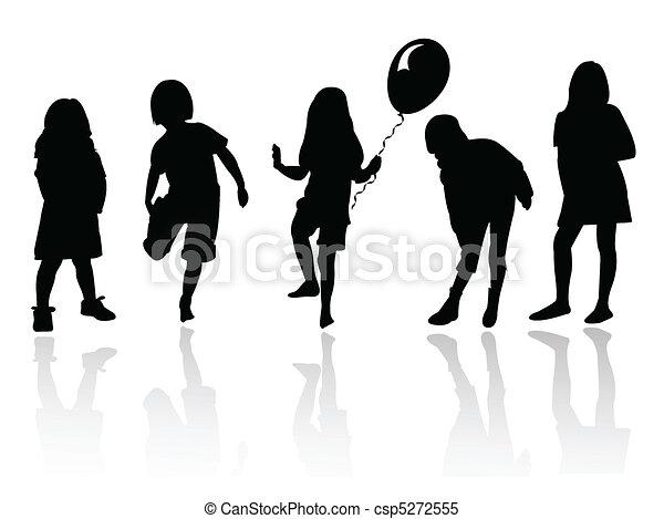 filles, jouer, silhouette - csp5272555