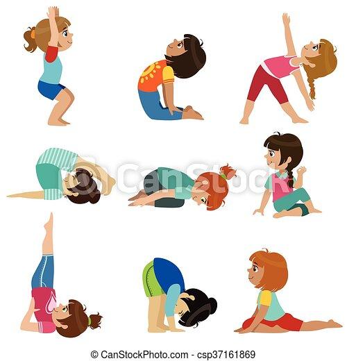 filles, peu, ensemble, yoga - csp37161869