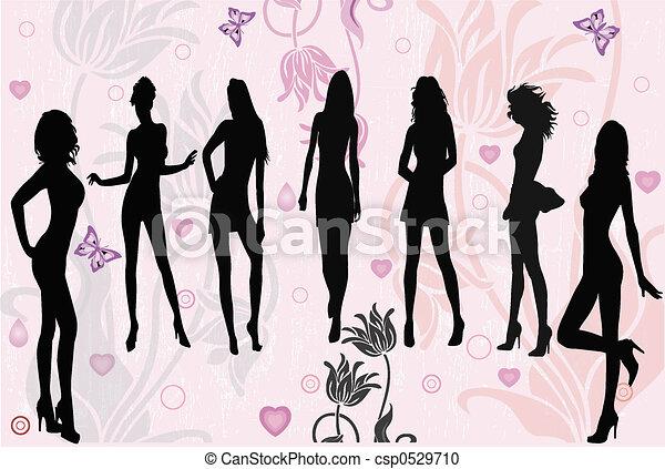 filles, poser, vect, - - csp0529710
