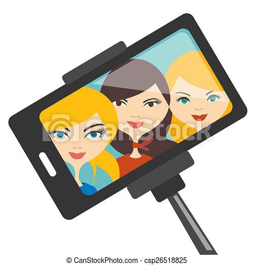 filles, selfie, photo. - csp26518825