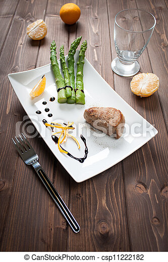 Fillet of pork with asparagus - csp11222182