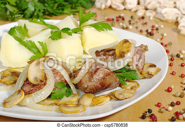 Fillet with mushrooms, onions and potatoes with ingredients in the background - csp5780838