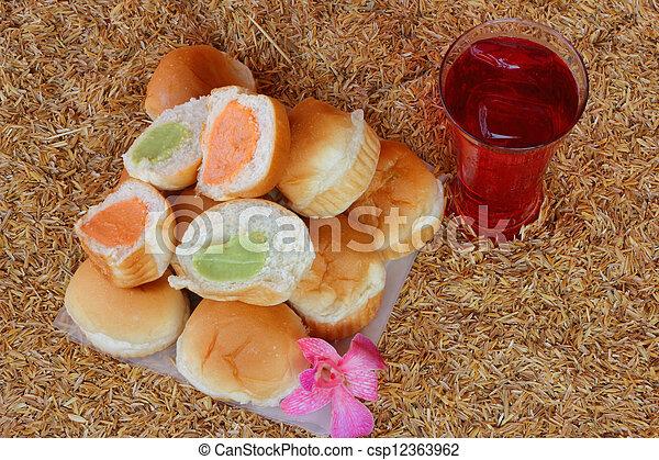 Filling baked bread custard  - csp12363962